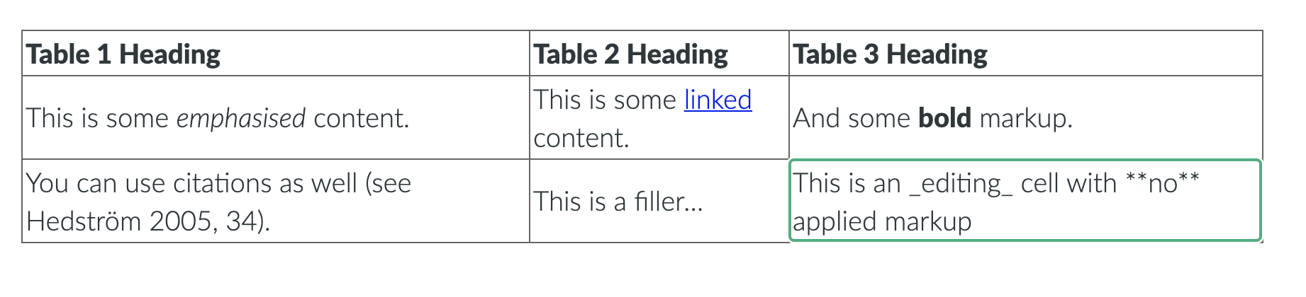 Table Editor pre-rendering