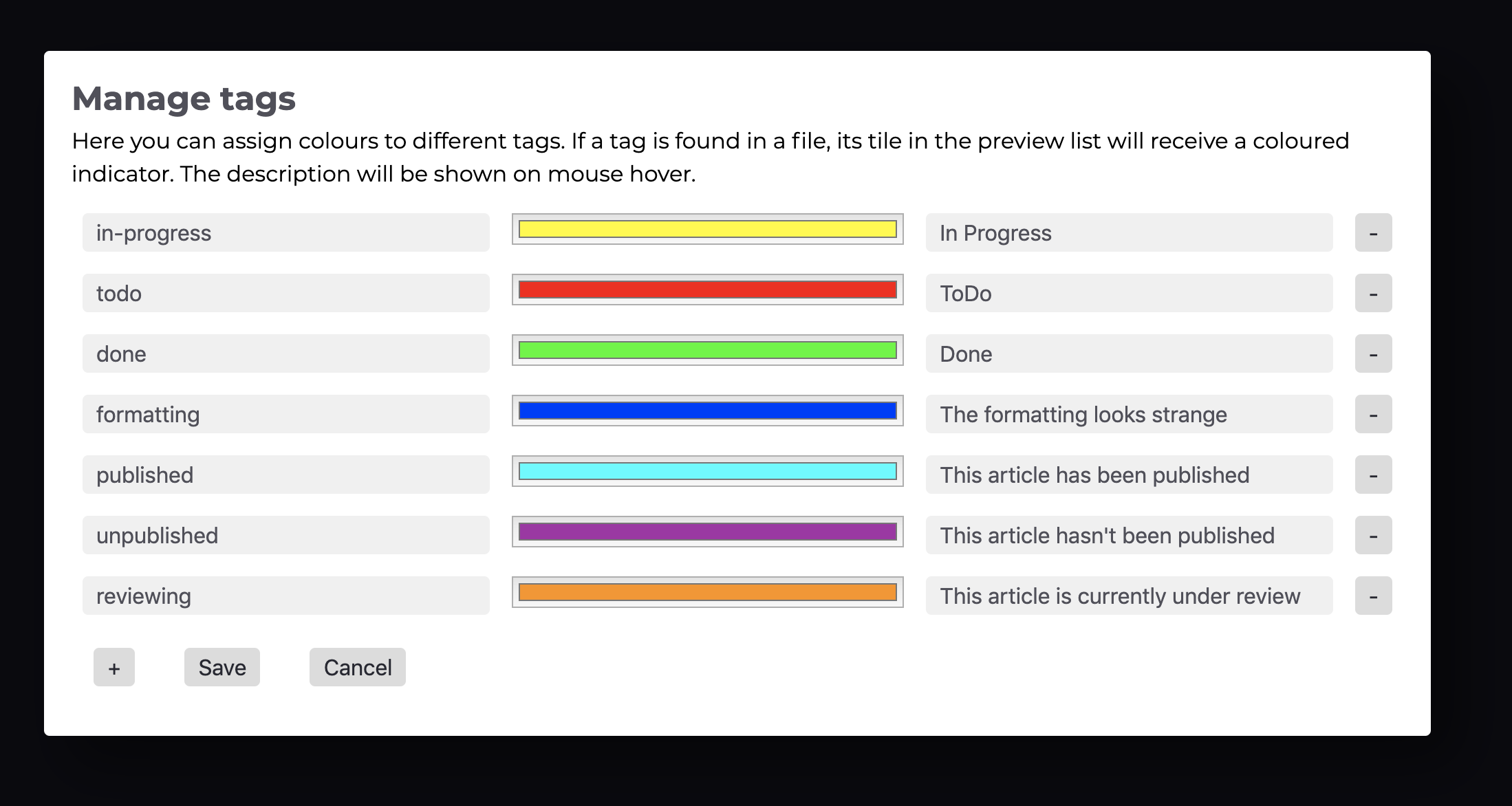 The Tags settings dialog