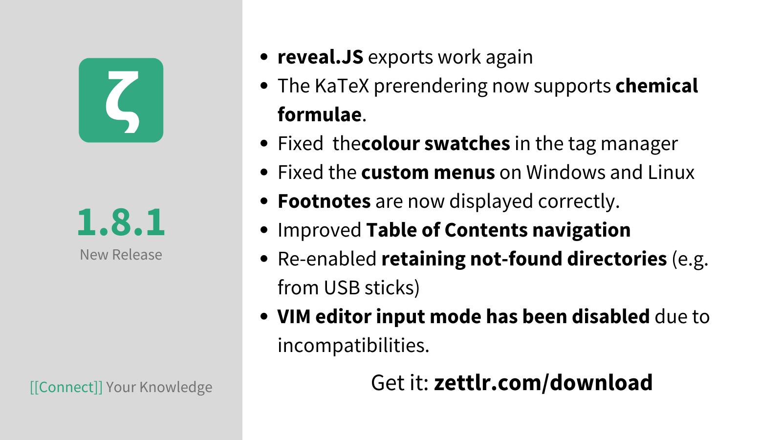 Zettlr 1.8.1 released